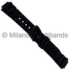 14mm Flex-On Black Rubber Black Buckle Fits Casio Sports Strap Watch Band Long