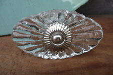 Oval Clear Glass Scallop Crackle DRAWER PULL KNOB with Silver metal base