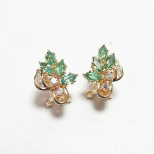 Estate 14K Yellow Gold Natural Emerald And Diamond French Clip Earrings 1.20 Cts