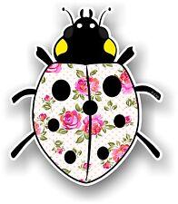 Belle Coccinelle Ladybug design & Crème Shabby Chic Motif Floral Autocollant Voiture