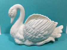 "Vintage Napco Ceramic White Swan Planter, Made in Japan 5"" tall 8"" long"