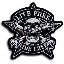 Live Free Ride Free Pirate Crossbone Skull Patch Iron on Biker Rider Vest Race