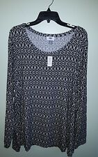 NWT Old Navy Women's XXL Long Sleeve Printed Top BLACK WHITE Shirt COMFY #321417