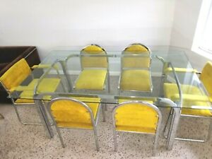 Mid Century Modern Chrome Glass Dining Room set Table 6 Chairs WOW
