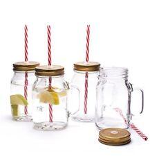 Mason Glasses Drinking Jam Jars With Handle Lids Straws Retro Cocktail SET OF 4