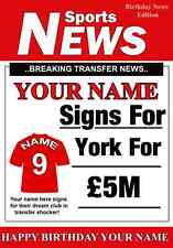 A5 Personalised York  Football Greeting Birthday Card any name, age value