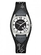 S.Oliver Women's Watch so-1562-lq Leather Wrist Band Grey with Flower Tendril