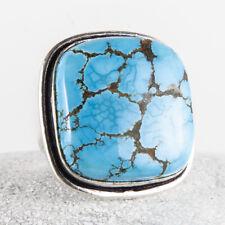 Auffallend schöner, großer Silber Ring, 925, Türkis Stein, Quadrat, Größe: 56