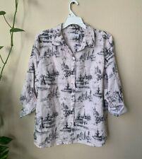 Charter Club Women L Shirt Button Down Pink White Striped Long Sleeve Roll Tab
