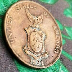 1938-M 1 Centavo Philippines US Commonwealth Manila Mint Bronze Coin One USA