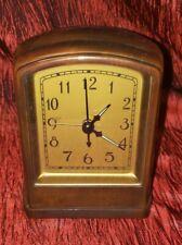 Pottery Barn Vintage Look Alarm Clock Bronze Metal Heavy Arts & Crafts Round Top