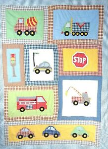 "Kids Boy Room Quilt Bedspread Stitch Patchwork Full Size Cars & Trucks 65""x78"""