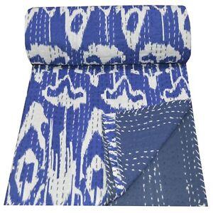 Indian Handmade Kantha Quilt Cotton Blue Ikat Gudari Throw Bedspread Queen Size