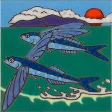 Ceramic Tile Flying Fish Sealife wall decor hot plate installation backsplash
