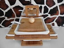 Bambus Porzellan Menage Set Marmelade Senf Honig Ständer Neu