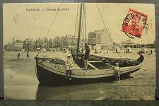 cpa belgique la panne bateau de peche animee