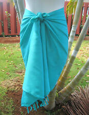 Hawaii Pareo Sarong Short Solid Turquoise Green Cruise Beach Coverup Wrap Skirt