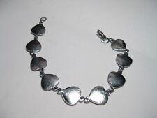 """Vintage Silvertone Abelone-like Heart Shaped Bracelet -  appx. 7.25"""""""