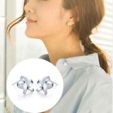 Fashion Cuff Stud Jewelry Good Women Silver Plated Star Shape Earrings Matte