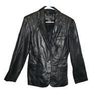 Banana Republic Womens Blazer Black Lined Notch Lapel Genuine Leather Jacket 4