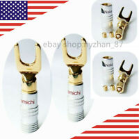 4PCS Gold Plated Speaker Spade Banana Plug Connector Wire Cable Adapter US