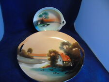 Two Noritake Scenic Items - Cake plate and Nappy - M Mark - Made in Japan