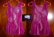 Ice Figure Skating COMPETITION Dress Pink w gold + clear rhinestones Adult M