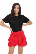 New Ladies Womens Peplum Ruffle Frill Over Lay High Waisted Mini Skirt Shorts