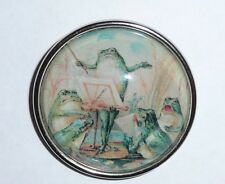 """Wonderful Frog Conductor Concert Domed Button Ant. Silver Bezel Button - 1-1/2"""""""