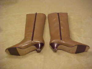 NEW VINTAGE LADIES ETIENNE AIGNER TALL TAUPE LEATHER BOOTS SIZE 8 1/2 M
