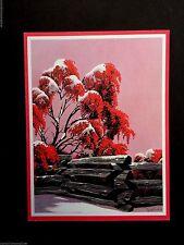 # 364 ~ Pyracantha & Fence ~ Unused Eyvind Earle Xmas Greeting Card, Stunning!!