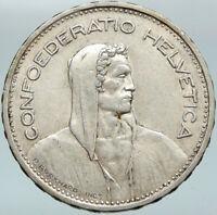 1965 Switzerland Founding HERO WILLIAM TELL 5 Francs Silver Swiss Coin i88303