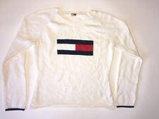 TOMMY HILFIGER Women's SIZE L M Vintage VTG 90'S Flag BIG LOGO Sweater Top White