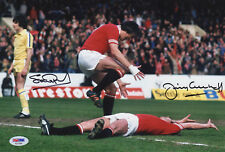 MANCHESTER UNITED 1977 FA CUP SEMI-FINAL PHOTO SIGNED PEARSON & GREENHOFF PSA