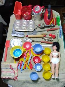 Vintage Toy Childs Play Dishes Set & Utensils with DOLL 1950's