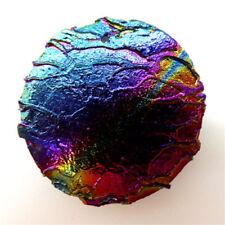 Coin Titanium crystal Agate Druzy Quartz Geode stone Pendant Bead 40*40*6mmA561