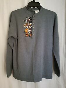 Mens Vintage Disney Mickey And Friends Embroidered Henley Medium Gray