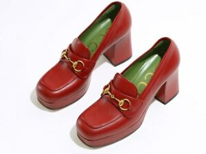 New Authentic Gucci Houdan 60 Platform  Loafer Red Eur 37 / US 7