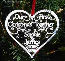 Our First 1st Christmas Together Xmas Personalised Tree Decoration Heart Bauble