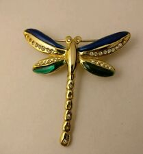 VINTAGE spilla di strass smalto Dragonfly
