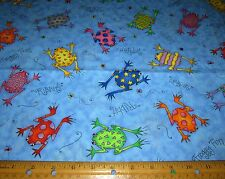"1 yard of 60"" wide COLORFUL FROGS on BLUE 100% COTTON FABRIC Ribbit Froggy Fun"