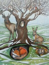 ORIGINAL WATERCOLOUR PAINTING OF WOODLAND ANIMALS, DEER,HARE,FOX,OWL,ROBIN.
