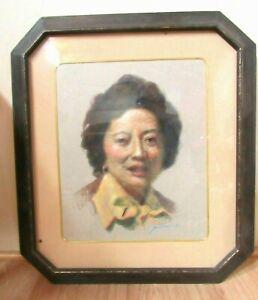 Vintage OIL PASTEL PORTRAIT-Woman-1986-Signed-Mid-Century Octagon Wood Frame