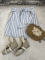 H&M White Blue Stripe Paper Bag Linen Blend Short Skirt 8 Summer Holiday Chic