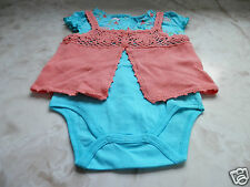 Baby GUESS Girl 3-6 Months Turquoise Floral Butterfly Romper Shawl Summer Outfit
