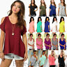Womens Cut Out Cold Shoulder Casual T-shirt Tops Summer Loose Blouse Top  6-20