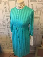 VINTAGE 60'S AQUA BLUE MINI MOD LACE TRIM SHIFT DRESS UK 8-10 SMALL