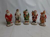 Vintage Ceramic Santa Claus Figurines By Mercuries USA Lot of 5-holiday Xmas