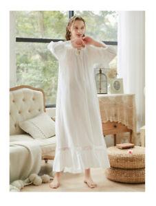 Sexy Cotton Ladies Pyjamas Victorian Vintage Long Sleeve Nightdress-Size-S-XL K1