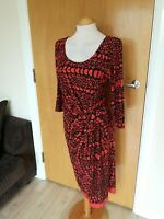 Ladies PER UNA Dress Size 16 Long Tall Stretch Ruched Orange Black